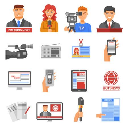 Media icons set with telecommunications radio and news symbols flat isolated vector illustration Illustration