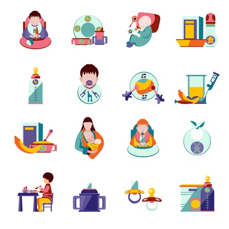 Baby feeding and nutrition flat icons set isolated vector illustration Illustration