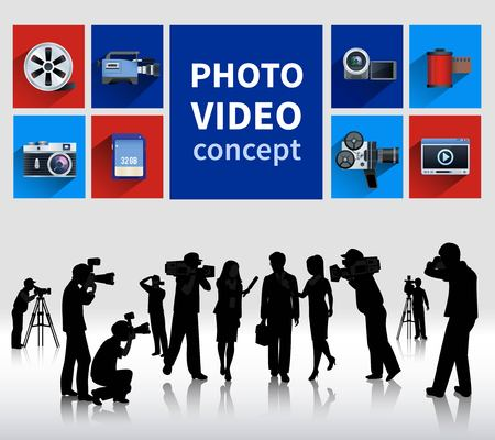 photo people: Photo and video concept with people and cameras flat isolated vector illustration Illustration