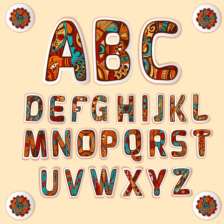 structured:  alphabet with beautifully structured art design used for letters stickers set colored glossy abstract vector illustration