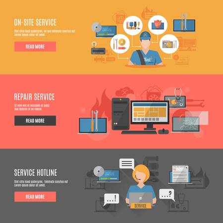 computer repair: Computer repair hotline operator service homepage 3 flat interactive horizontal banners website design abstract isolated vector illustration