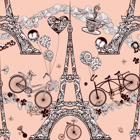 Paris seamless pattern with Eiffel tower and retro bicycles vector illustration