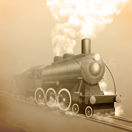 railroads: Old style locomotive with steam on railroad sepia vector illustration