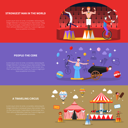 circus ticket: Circus horizontal banners set with strongest man in the world and traveling circus symbols flat isolated vector illustration Illustration