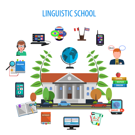 linguistic: Linguistic school flat style color concept with teacher dictionary equipment devices vector illustration