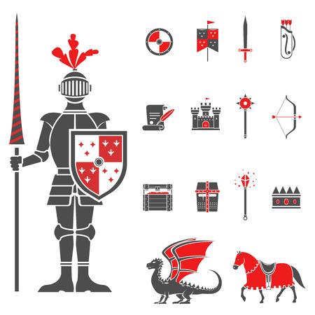 castillos: Caballero Castillo medieval con los iconos de lanza y escudo establecidos y drag�n rojo negro abstracto aislado ilustraci�n vectorial
