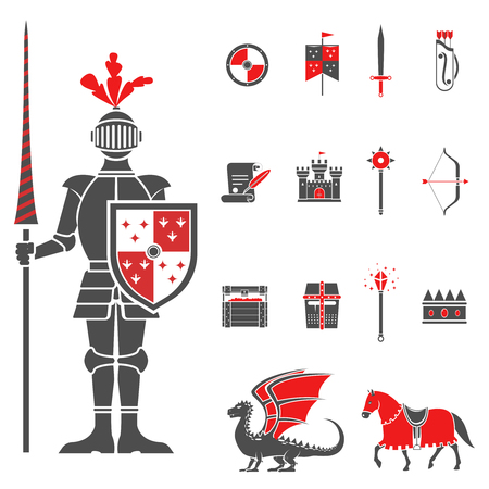 Medieval castle knight with lance and shield icons set and dragon red black abstract isolated vector illustration