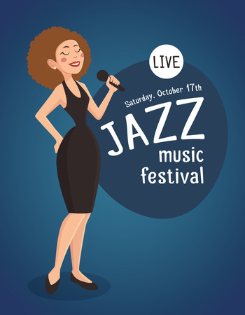 jazz band: Woman jazz singer with a poster about live jazz music festival cartoon vector illustration