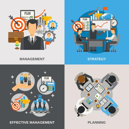 Concepto de diseño de gestión creado con la ilustración vectorial iconos planos de planificación efectiva aislado Foto de archivo - 48269254