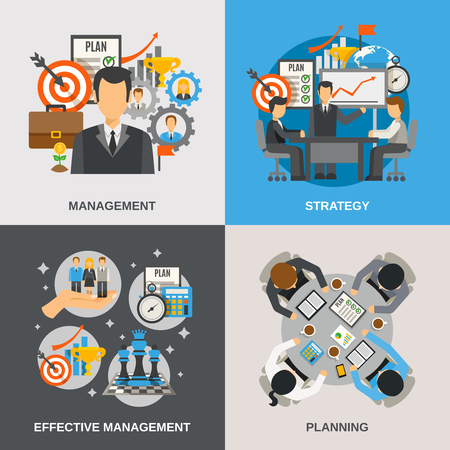 Management design concept set with effective planning flat icons isolated vector illustration Vettoriali