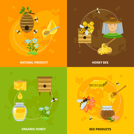 Honey and bees icons set with natural products symbols flat isolated vector illustration Illustration