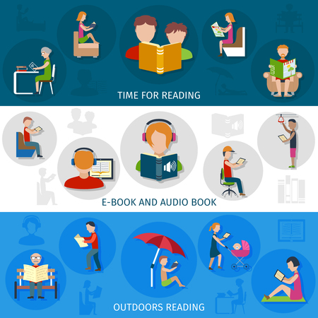 student teacher: People horizontal banner set with e-book and audio books element isolated vector illustration