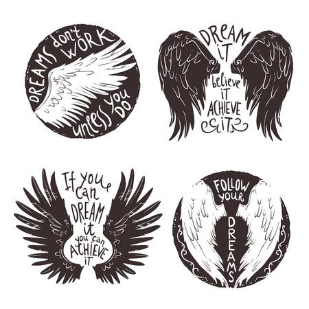 tatouage ange: ailes dessinées à la main jeu d'étiquettes avec le texte de motivation isolé illustration vectorielle Illustration