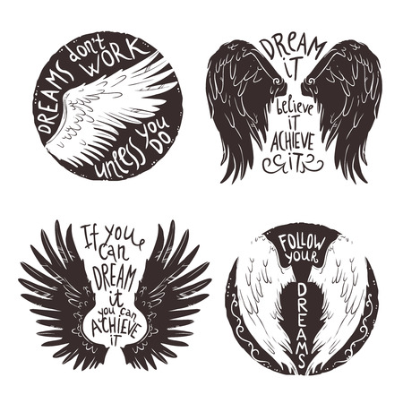 angel white: Hand drawn wings label set with motivation text isolated vector illustration