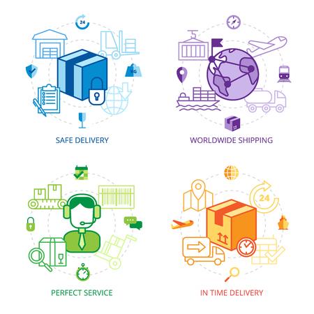 Iconos de la logística de línea de diseño conjunto con la entrega del envío en todo el mundo seguro y símbolos servicio perfecto ilustración vectorial aislado plana Ilustración de vector