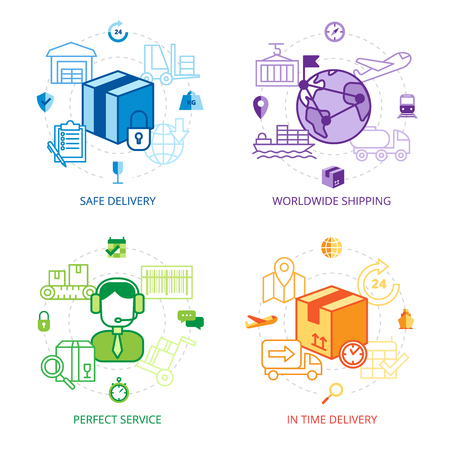 Logistics design line icons set with safe delivery worldwide shipping and perfect service symbols flat isolated vector illustration Illustration