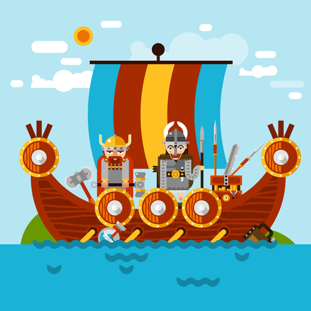 viking: Viking boat at sea background with viking army and treasure flat vector illustration