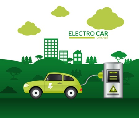 plugged: Electric car print with green auto plugged into battery vector illustration