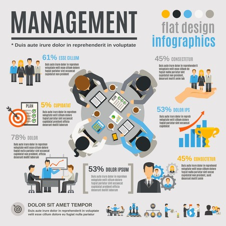 document management: Management infographics set with effective business planning symbols vector illustration