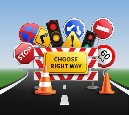 rules of the road: Choose right way realistic concept with road signs and traffic lights vector illustration