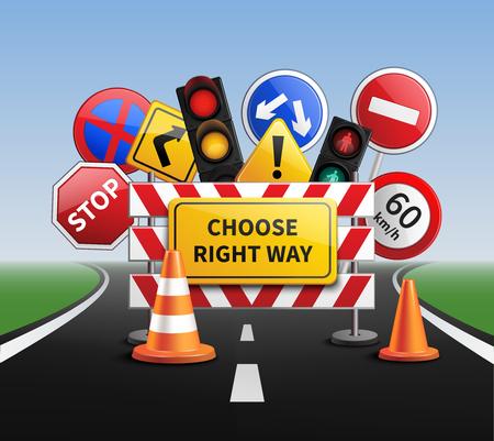 Wybierz właściwą drogę realistyczną koncepcję ze znaków drogowych i sygnalizacji świetlnej ilustracji wektorowych
