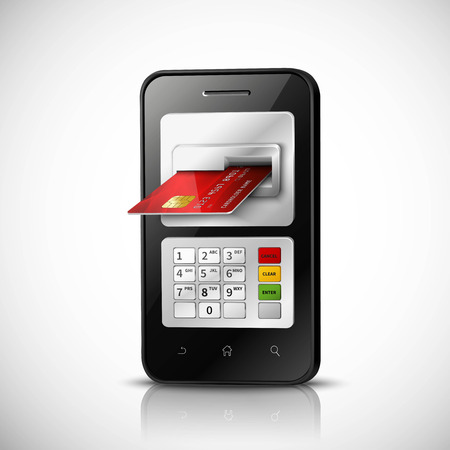 cardholder: Mobile banking realistic concept with mobile phone and credit card vector illustration