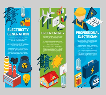 electrician with tools: Electricity vertical banner set with isometric electrician elements isolated vector illustration