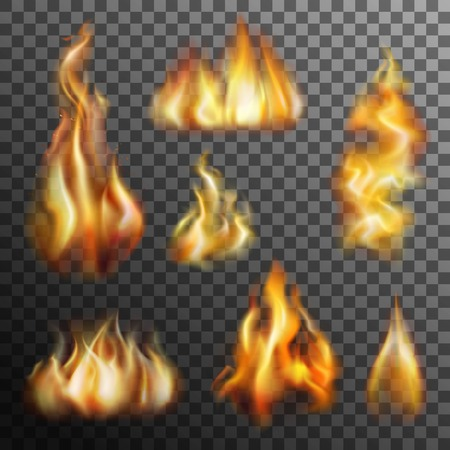 conflagration: Realistic burning fire transparent set for decoration isolated vector illustration
