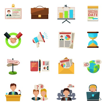 media room: Meeting icons flat set with people teamwork symbols isolated vector illustration