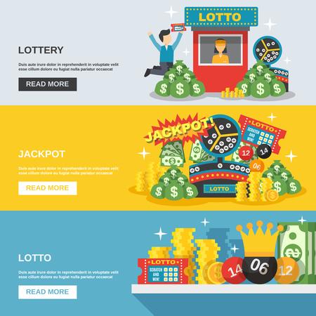 bingo: Lotería banner horizontal establece con la ilustración del vector de los elementos del premio mayor de lotería aislado