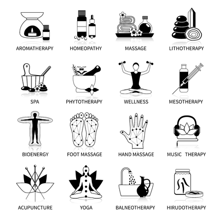 Zwart alternatieve geneeskunde iconen set van fytotherapie yoga bio spa homeopathie symbolen flat geïsoleerd vector illustratie
