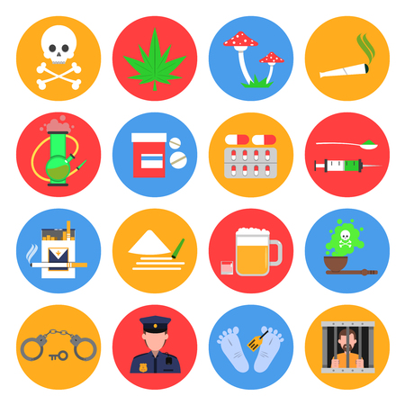 Drugs ronde iconen set met drugs alcohol en roken symbolen platte geïsoleerde vector illustratie