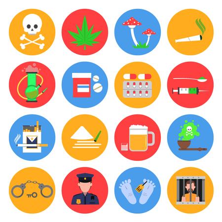 Léky kulaté ikony sada s drogami alkoholu a kouření symbolů ploché izolované vektorové ilustrace