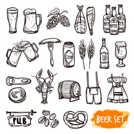 barley hop: Beer black pictograms set with oak barrel hop malted barley grain and snacks doodle isolated vector illustration