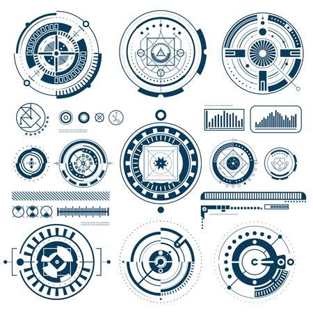 Táctiles HUD negro iconos de la interfaz blancos establecidos en la ilustración vectorial aislado plana de forma redonda Ilustración de vector