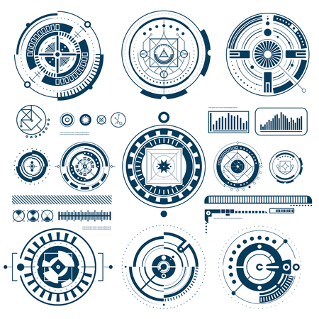 Touch HUD black white interface icons set in round shape flat isolated vector illustration