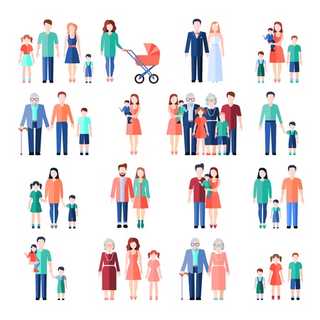 Family flat style images set with married couples parents and children isolated vector illustration Vettoriali