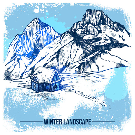 wilderness: Sketch of winter landscape with remote house on snow wilderness and mountains background vector illustration Illustration