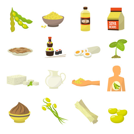 Soy food icons - soy milk soy beans soy sauce soy meat tofu soy oil vector illustration