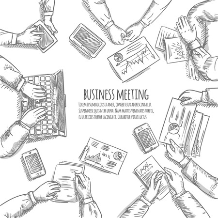 bocetos de personas: reunión de negocios concepto boceto con las manos humanas vista superior con objetos de oficina ilustración vectorial