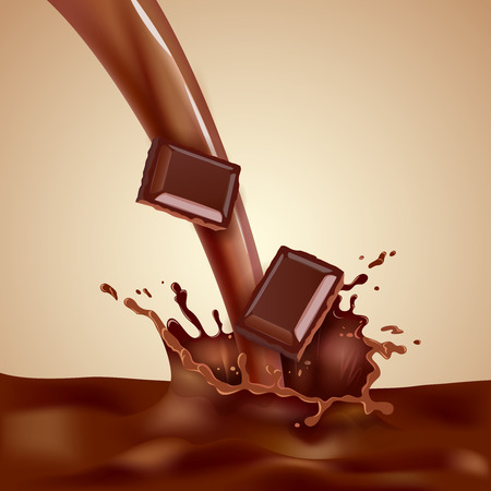 milk production: Sweet choco milk with pieces of chocolate and splashes realistic vector illustration Illustration