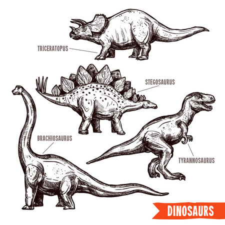 sketch child: Prehistoric dinosaurs 4 diverse jurassic reptiles animals hand drawn pictograms collection black doodle abstract isolated vector illustration Illustration