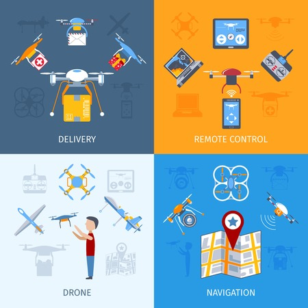 remote: Drone design concept set with remote control flat icons isolated vector illustration