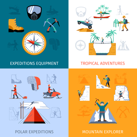 expedition: Expedition design concept set with explorer equipment isolated vector illustration Illustration