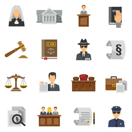 law: Law icons flat set with judge courthouse bible isolated vector illustration