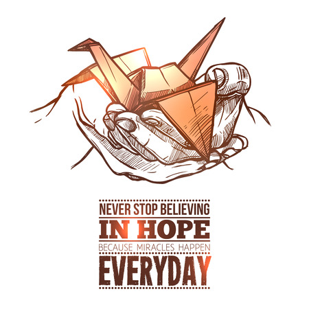 hope: Healing hope light during difficult times symbolic origami paper folded crane in hand doodle abstract vector illustration