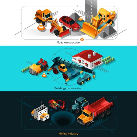 accomplishments: Isometric construction machines horizontal banners set with road house and mining industry elements isolated vector illustration Illustration