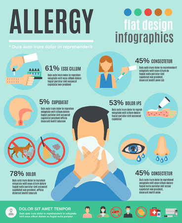 pollen: Allergy infographics set with health care symbols and treatment vector illustration