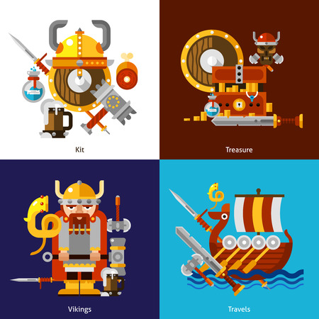 social history: Viking army icons set with kit treasure and travels symbols flat isolated vector illustration