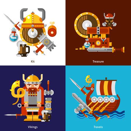 vikingo: Vikingos iconos ej�rcito establecidos con kit de tesoro y viaja s�mbolos plana aislado ilustraci�n vectorial Vectores